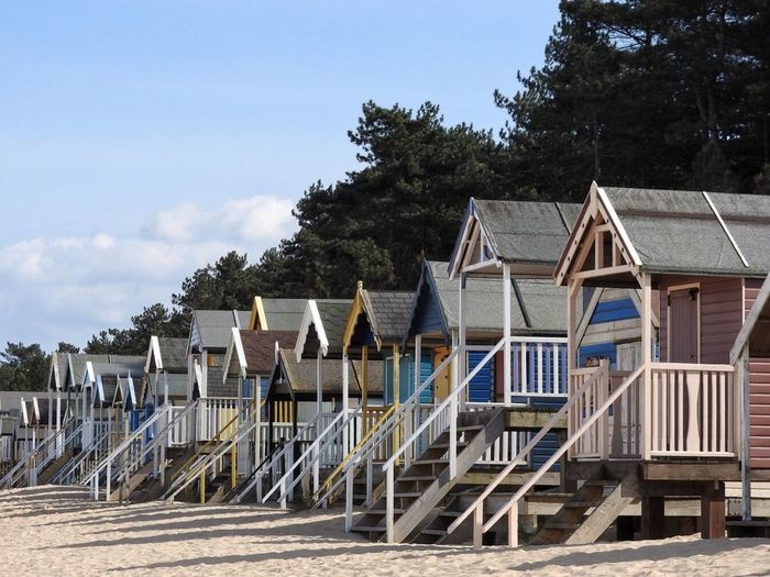 Beach Huts, Norfolk Wells Next The Sea Beach Huts Pine Tree Sand Day Beach Norfolk Vacations Holidays Seaside
