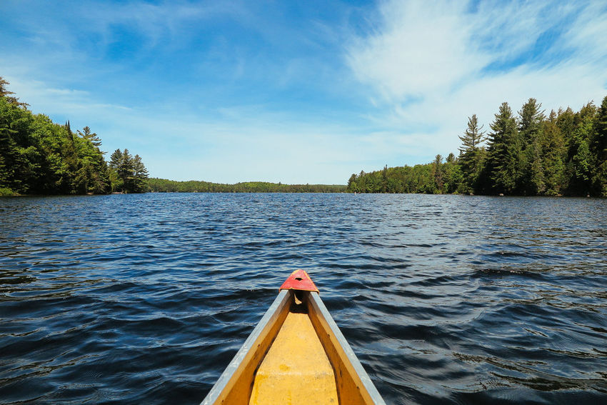 Canoe Algonquin Park Algonquinpark Algonquinprovincialpark Beauty In Nature Cloud - Sky Day Floating On Water Nature Nautical Vessel No People Outdoors Scenery Sky Tranquility Tree Water