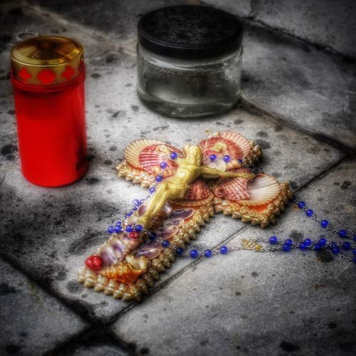 Gold Colored Graveyard Cemetery Death Loss Candle Cross Memorial Catholic Rosery Blue Memories Memorial Church High Angle View No People Still Life Close-up Indoors  Table Day Red