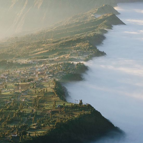 Misty Morning Mist Bromo Mountain Bromo, East Java Sunrise Bromo-tengger-semeru National Park Water High Angle View Scenics - Nature Beauty In Nature Nature Tranquility Land Outdoors Plant No People Tree Tranquil Scene Reflection Beach Day Sky Sea Mountain Non-urban Scene