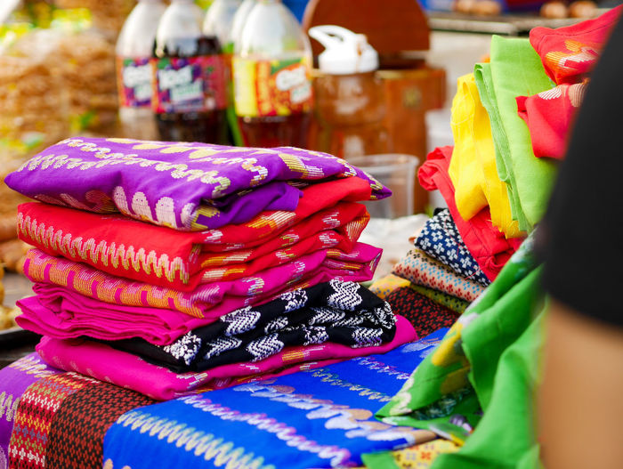 Close-up of multi colored textile for sale in market