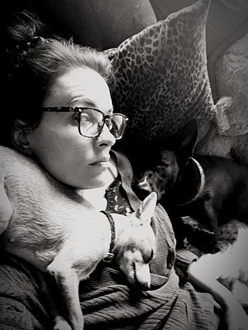 A Look Napping Dogs Resting Dogs Woman Glasses Eyeglasses  Portrait Headshot One Person Young Adult Adult Women Real People