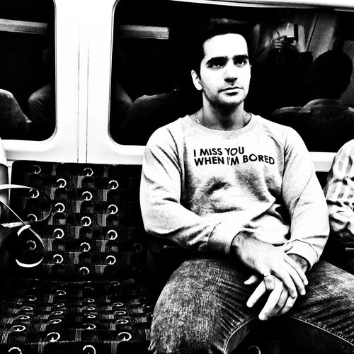 Sitting One Person Real People Transportation Adult People Casual Clothing Streetphotography Monochrome Photography Northern Line Tube Tubetrain