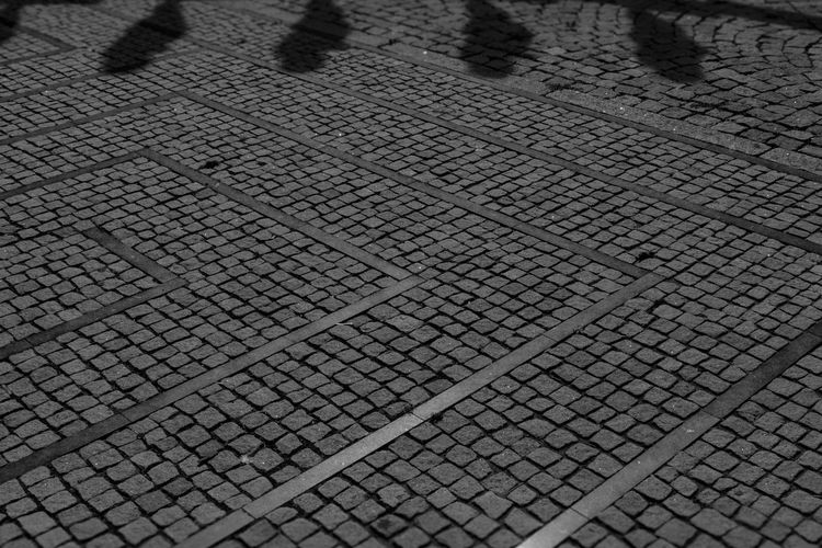 Abstract Day Footpath High Angle View Outdoors Shadows & Lights Stone Material Structures & Lines Blackandwhite B+W Street Photography Black And White