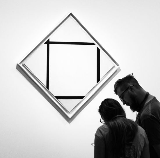 Mondrian - white. Rear View Two People Adult Indoors  New York Photography Malephotographerofthemonth The Week On EyeEm Monochrome Photography Streetphotography_bw Moma Museum Of Modern Art New York The Art Of Viewing Art TAOVA