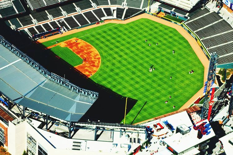 Baseball Sport Stadium Aerial View Playing Field Team Sport Leisure Activity Baseball - Sport Leisure Games High Angle View Sports Team Match - Sport Playing Outdoors Competitive Sport Day Architecture ATL Atlanta, Georgia Travel Destinations Modern Tourism Aviationphotography Aviation Photography Colors Aerialview