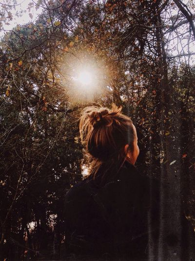And the sun took a step back, the leaves lulled themselves to sleep and Autumn was awakened 🍂 (part 1) Tree One Person Rear View Sunlight Forest Women Lifestyles Real People Nature Outdoors Day Fall Autumn Autumn Colours First Eyeem Photo