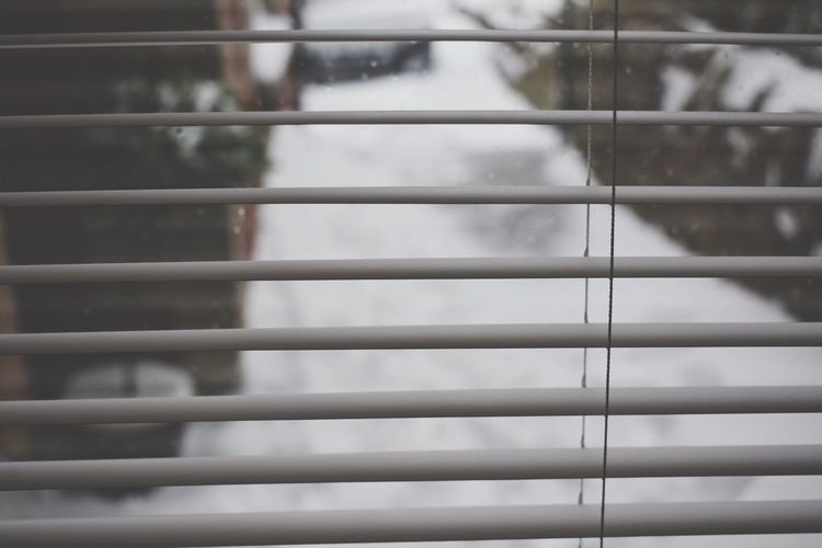 Snowy scenes through the window Outdoors Backgrounds Focus On Foreground Outoffocus Blur Throughtheblinds Snowing Snow Window Full Frame Backgrounds No People Pattern Indoors  Close-up Day