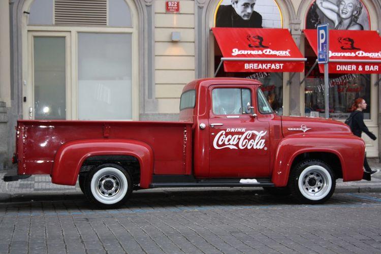 #car #CocaCola #czechrepublic #jamesdean #oldstreet #Prague #red #redcar #truck