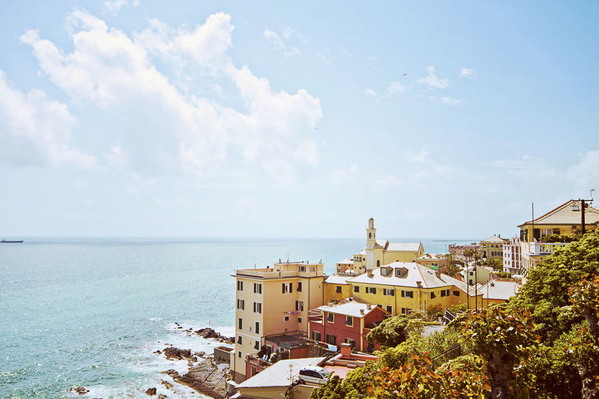 Genoa, Italy - panoramic view of Boccadasse quarter facing the Ligurian sea Architecture Boccadasse Building Exterior Cityscape Coastline Day Genoa, Italy, Europe, Liguria Genova ♥ Holiday Ligurian Sea Nature No People Outdoors Riviera Rocky Beach Sea Seascape Sky Tourist Attraction  Water Waves Windy Day