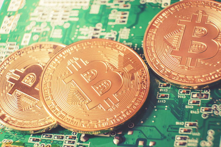 Bitc Bitcoin Business Circuit Board Close-up Coin Communication Computer Chip Currency Finance Fintech Full Frame Gambling Green Color Indoors  Luck Making Money No People Number Opportunity Still Life Studio Shot Text Wealth