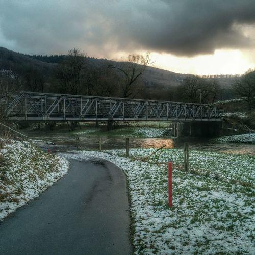 Landscape HDR Winter Bridges winter biker tour.