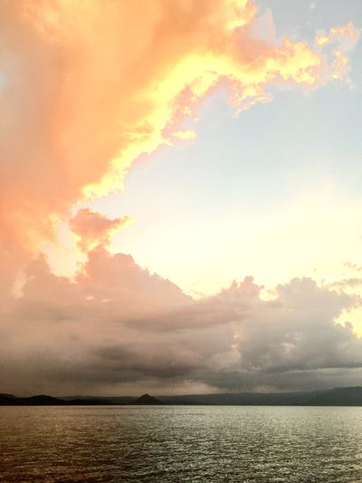 Twilight Taal Lake Lake Sky Water Cloud - Sky Sunset Beauty In Nature Tranquility Scenics - Nature Tranquil Scene Orange Color Outdoors