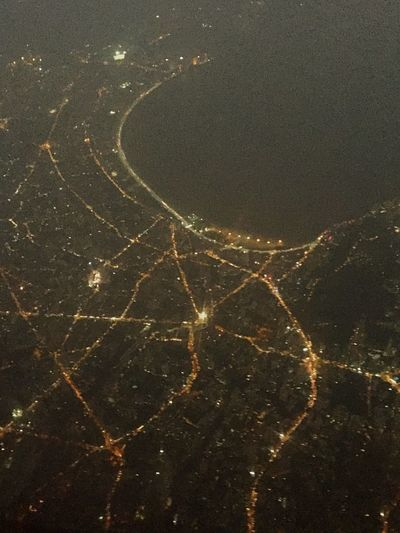 Getting Creative City Lights Window View Night View Mumbai The Queens Necklace Battle Of The Cities City Of Dreams Sky Flight Lights Top View Shot City Travel The Week On EyeEm Freedom Fly Flying  Airplane Sea Sea