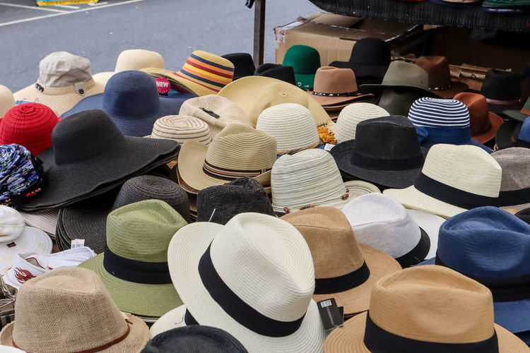 Hat Abundance Arrangement Business Choice Clothing Collection Colour Consumerism Day For Sale Hat Hats High Angle View Large Group Of Objects Market Market Stall Multi Colored No People Order Retail  Retail Display Sale Shopping Still Life Store Variation