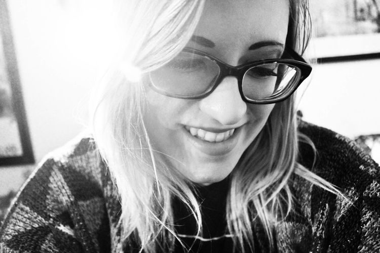Black And White Black And White Photography Black And White Portrait Close-up Cute Cute Pets Everyday Happiness Eyeglasses  G Giirls Who Wear Glasses Girls With Glasses Grainy Happiness Happy Headshot Human Face Joy Lifestyles Person Portrait Smiling Young Adult Young Woman