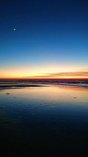 Mobilephotography Shadows & Lights Golden Beachphotography Ocean Colors Astronomy Galaxy Clear Sky Water Sea Sunset Moon Blue Beach Reflection