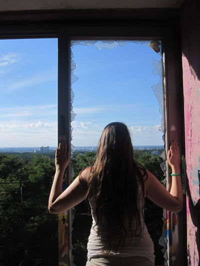 Berlin Blue Casual Clothing Day Horizon Over Water Leisure Activity Lifestyles Long Hair Lost Places Nature Relaxation Scenics Sea Sky Teufelsberg Tranquility Vacations