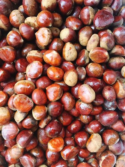Chestnut Food And Drink Healthy Eating Full Frame Fruit Wellbeing Food Backgrounds Freshness Abundance Large Group Of Objects No People Still Life High Angle View Close-up Indoors  Market Day For Sale Repetition Retail