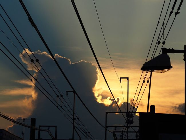 とても暑い金曜日でした😵 Sunset Sky Silhouette Cloud - Sky Clouds And Sky Cloud Cable Power Line  Connection Power Supply Low Angle View No People Building Exterior Tokyo Street Photography Olympus OM-D E-M5 Mk.II 夏の日暮れ。