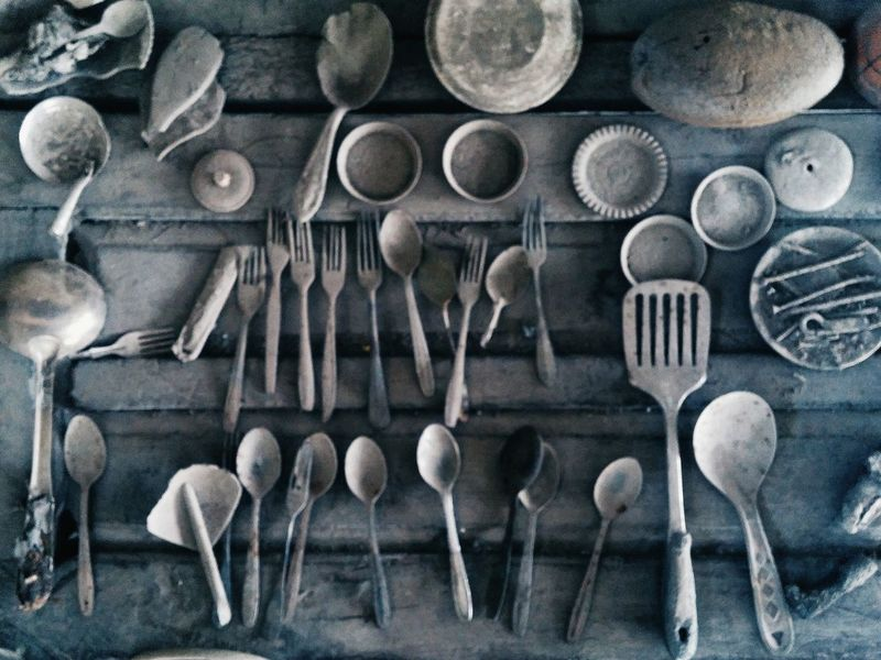 Large Group Of Objects Close-up Full Frame Indoors  Spoon And Fork Disaster Area Dusty