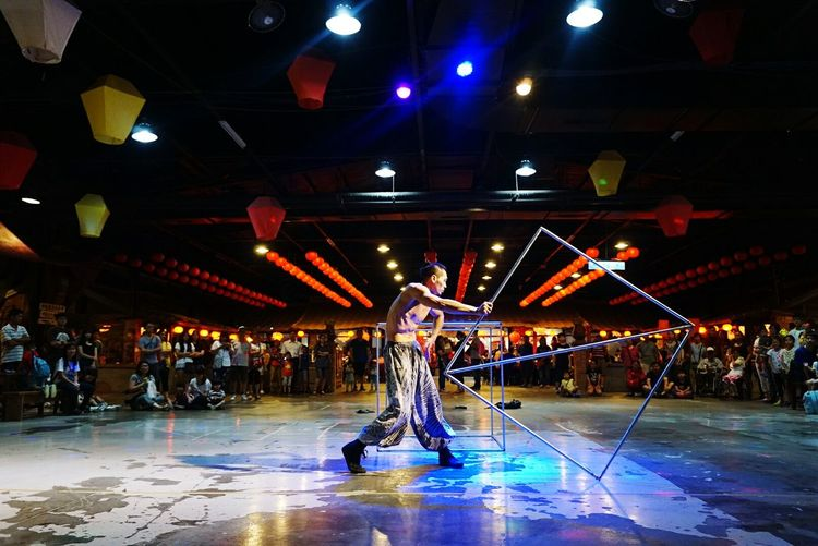 Illuminated Human Representation Electric Light Creativity Taiwan Motion Tainan City Performance Art Skills
