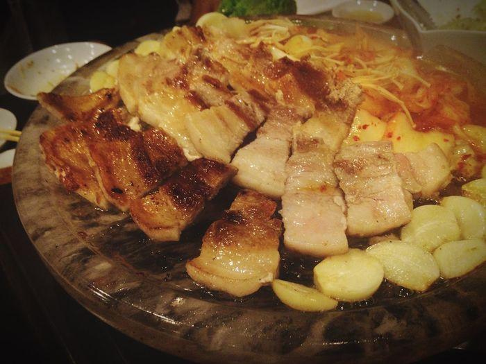 サムギョプサル!焼き上がり Samugyopusaru Korean Food Yakiniku Yakiniku And Drinking Pig Delicious Tokyo,Japan High Calorie Night Food