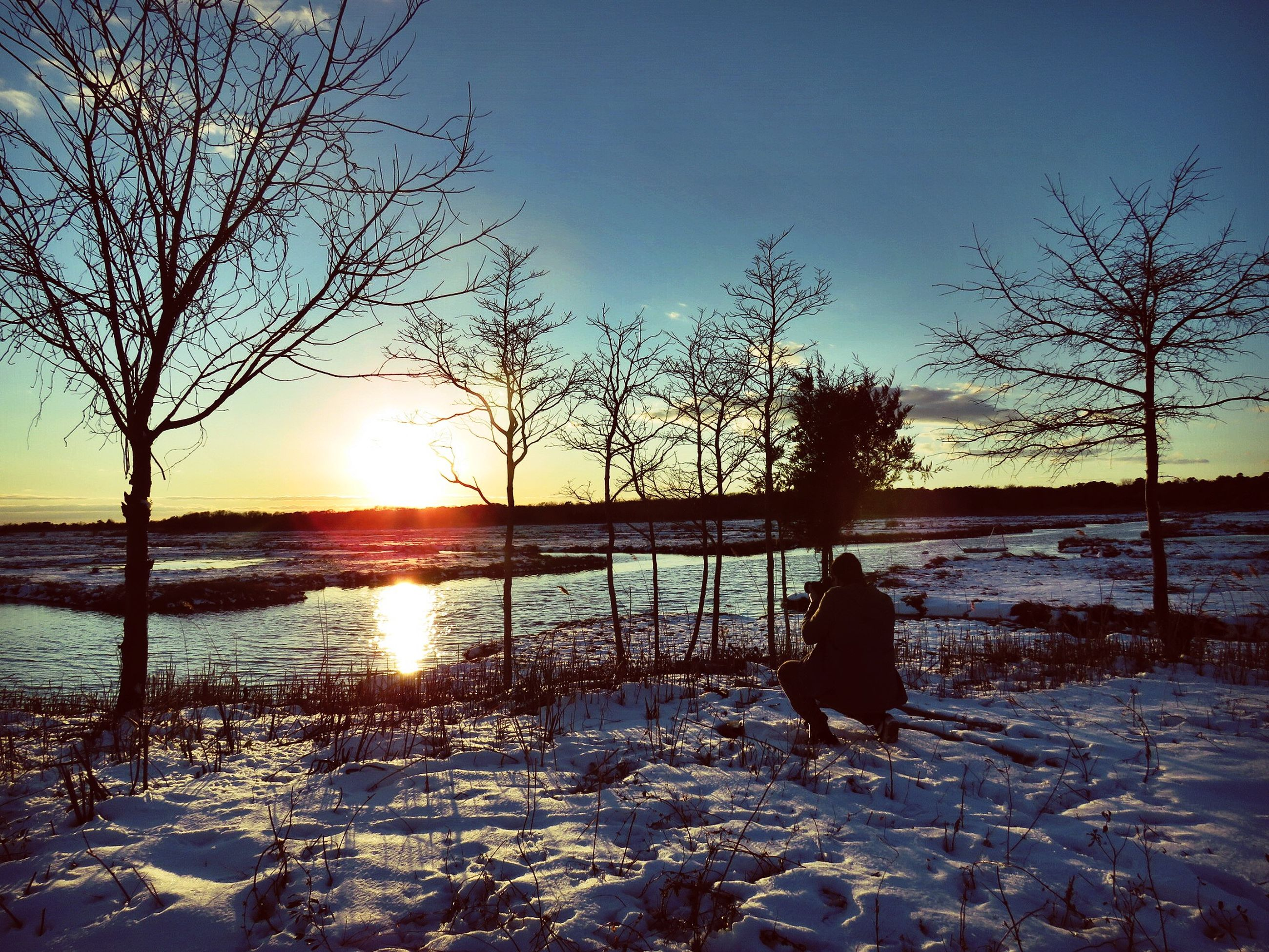 sunset, silhouette, sun, bare tree, water, tranquil scene, scenics, tranquility, beauty in nature, winter, cold temperature, snow, nature, lake, reflection, clear sky, sky, tree, idyllic, branch