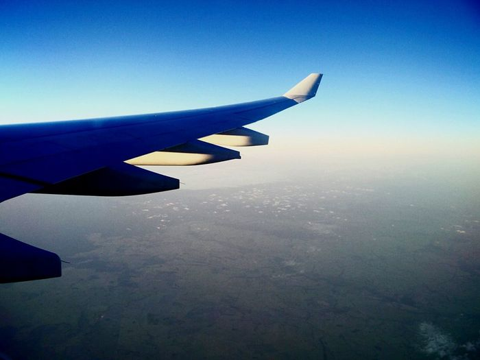 Mobile Conversations Blue Sky Flying Airplane Cloud - Sky Aircraft Wing Aerial View Travel