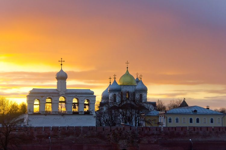 Veliky Novgorod City Politics And Government Sunset Cityscape Dome Illuminated Business Finance And Industry Dusk Museum Sky Historic Cathedral Church Calm