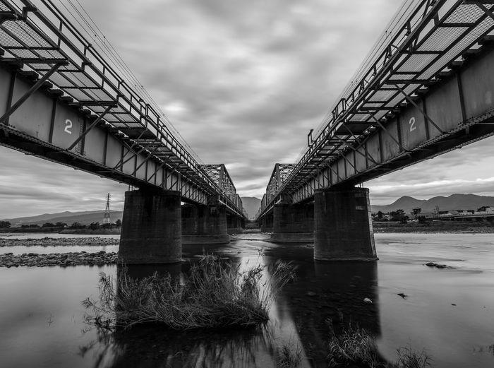 view under two of railway bridge Water City Bridge - Man Made Structure River Symmetry Suspension Bridge Sky Architecture Horizon Over Water Built Structure