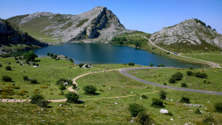 View of Lake Enol at Lakes of Covadonga in Asturias, Spain Asturias Covadonga Enol Lake Field Green Lago Enol Lagos De Covadonga Lake Lakes  Landscape Mountain Nature Outdoors Peak Picos De Europa Picturesque Road Rural Scenics Sightseeing SPAIN Tourism Travel Travel Destinations Water