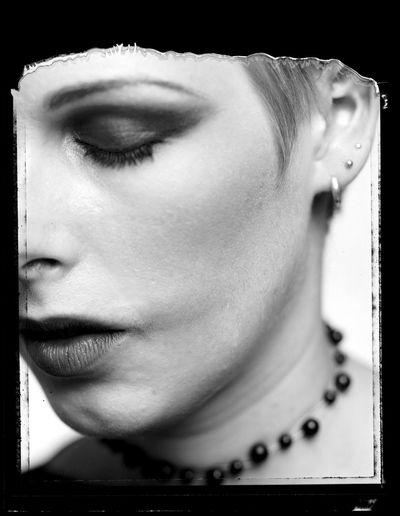 4 X 5 Negative Black & White Close-up Eyes Closed  Human Face Portrait Positive Negative Film