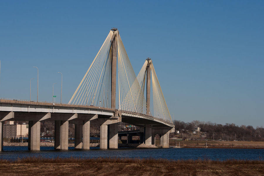 Mississippi River Alton Bridge Bridge - Man Made Structure Cable Stayed Bridge Columns Concrete Day Nature No People Outdoors Riverfront Water The Graphic City