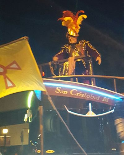 Conquistador Conquistador On Float Red And Yellow Feathers San Cristobal Flag DeSoto Grand Parade Florida Life