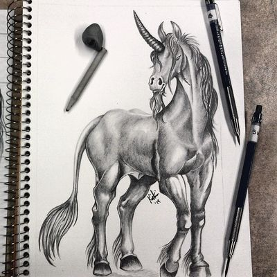 Graphite Artist Drawing Mystical creatures unicorn art greyscale pretty instagram photooftheday