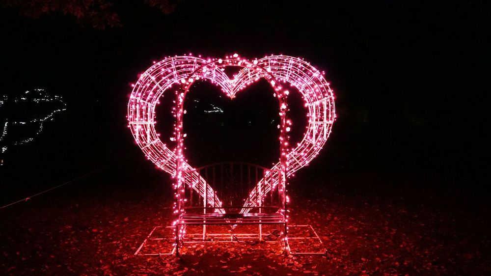 Christmas Decoration Illuminated Red Celebration Pattern Love Heart Shape