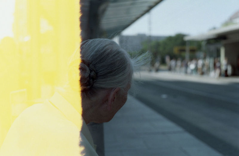 A time is running out. 35mm Film Bus Stop Film Photography Gray Hair Helios 44-2 2/58mm Old Lady One Person Real People Rear View Waiting