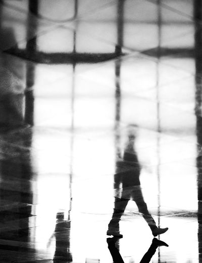 - Walking Reflection (2) Reflection EyeEm Gallery Blackandwhite Photography eyeemphoto Eye4photography  FUJIFILM X-T2 Nycphotographer Visual Creativity EyeEm Best Shots - Black + White Travcimages Real People One Person Reflection Shadow Silhouette Focus On Shadow Unrecognizable Person The Street Photographer - 2018 EyeEm Awards
