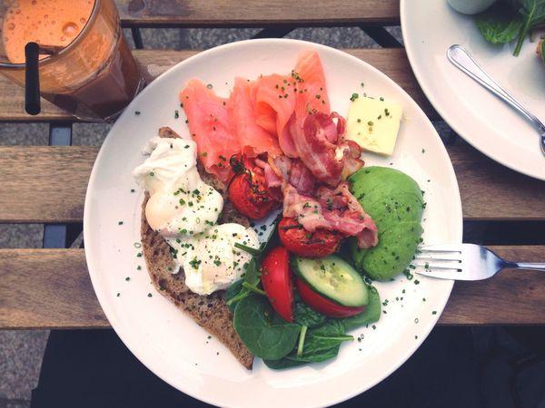 Brunch Around The World Salad Juice Egg Salmon Bread Cafe Outside Summer Brunch Wood