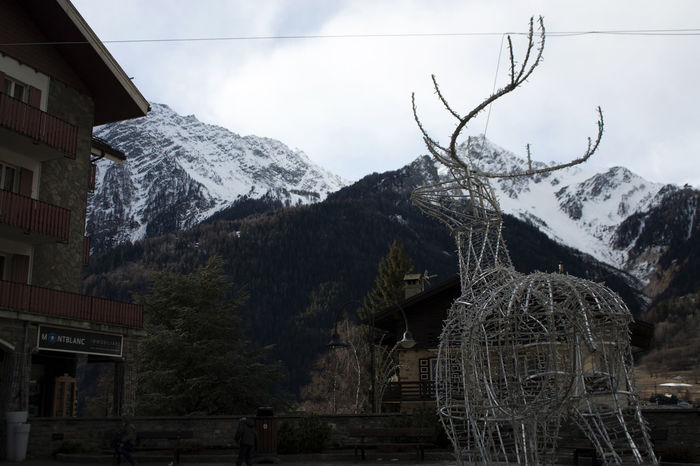 Outdoors Sky Day Adapted To The City No People Built Structure Architecture Art Courmayeur Mountains Reindeer Snow Winter Italy