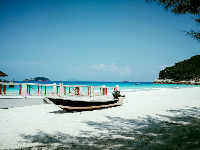 Pulau Redang, Malaysia. Water Sky Sea Land Beach Nautical Vessel Transportation Scenics - Nature Nature Mode Of Transportation Beauty In Nature Day Incidental People Travel Tranquility Clear Sky Copy Space Horizon Tranquil Scene Horizon Over Water Outdoors