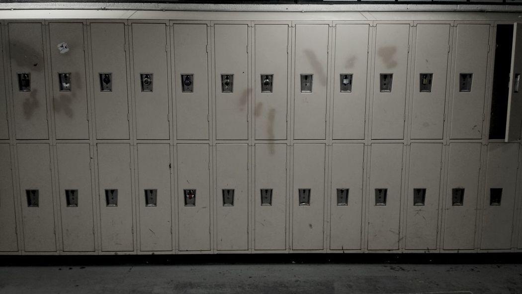 Symmetrical Locker Room Monochrome School