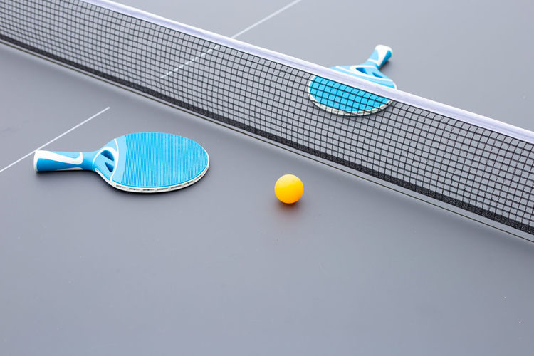 High angle view of table tennis equipment