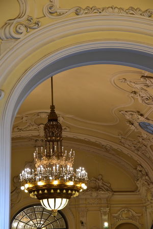 Budapest History Budapest, Hungary Ceiling Design Chandelier Light Dome Old Building Interior Pendant Lights Tarnished