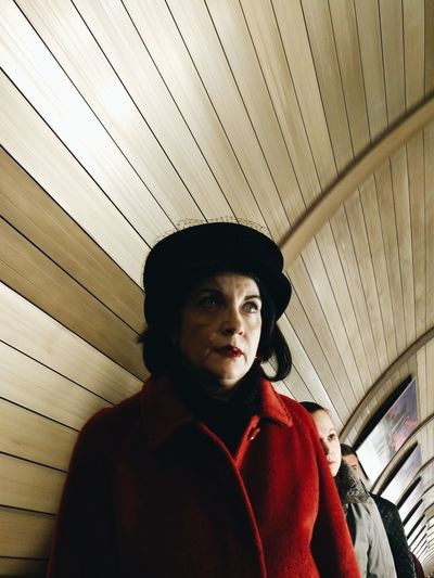 Woman in red One Person Portrait Underground Metro Woman Red Light Eyes VSCO The Street Photographer - 2017 EyeEm Awards