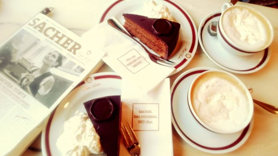 Sacher Hotel Sacher Torte Sachertorte Mit Schlagobers Original Sacher Sacher Cake Salzburg Austria Melange Melange Coffee Coffee With Whipped Cream Austrian Style Austrian Traditional Food Chocolate Cake Coffee And Cake Time Coffee Break Close-up Afternoon Tea