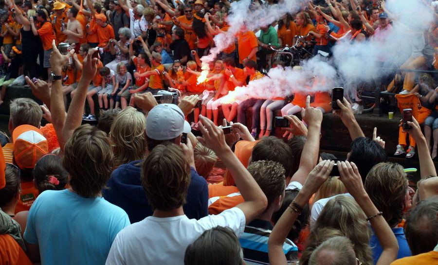 Adult Adults Only Amsterdam Arjen Robben Boat Can Ceremony Crowd Day Dutch Dutch Soccer Team Headwear Large Group Of People Men Orange Outdoors People Rear View Robben  Soccer World Champion World Championship Soccer 2010