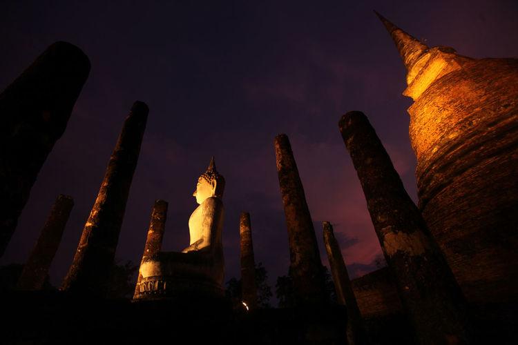 Low Angle View Of Buddha Statue At Wat Sa Si