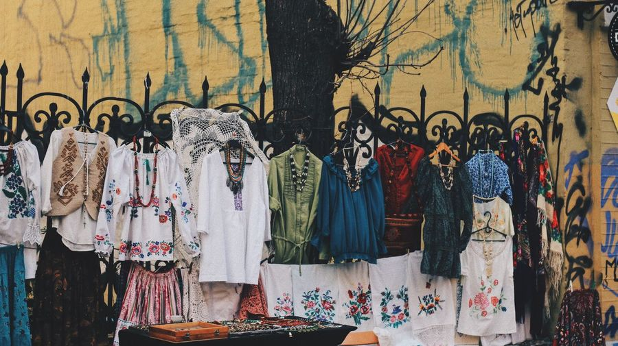 Close-up of clothing for sale